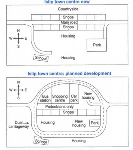 IELTS Band 8 Report, topic: Map of a town before and after